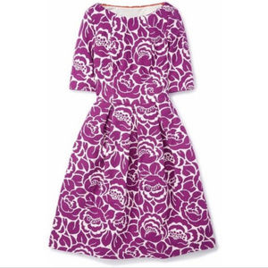 Boden Lindsey Purple Floral Dress with Pleats 6R